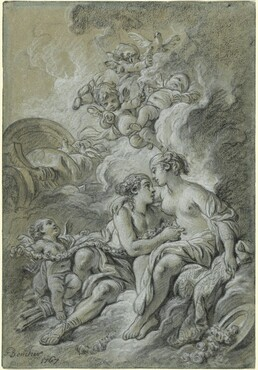 Venus appuyee sur son cher Adonis ...