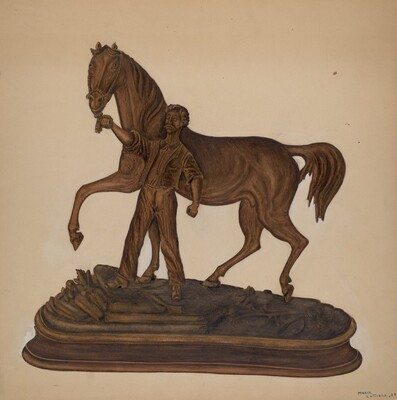 Horse and Man Woodcarving