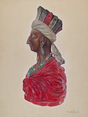 Wooden Indian Bust