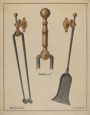 Fire Tongs, Shovel, and Jamb Hooks