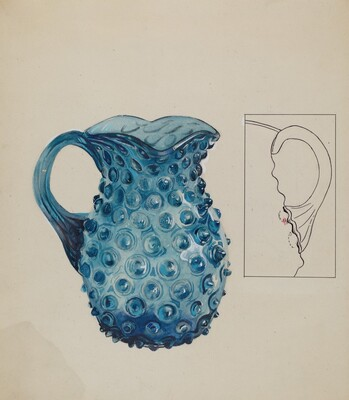 Blue Hobnail Pitcher