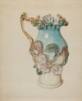 Ornamental Blue Pitcher