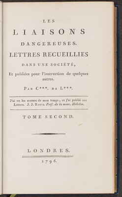 Les liasons dangereuses (volume II)