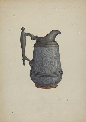 Pewter and Ceramic Pitcher