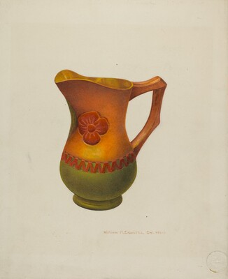Carved Wooden Pitcher