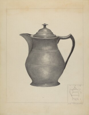 Pewter Covered Water Pitcher