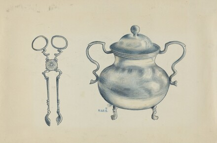Silver Sugar Bowl and Tongs