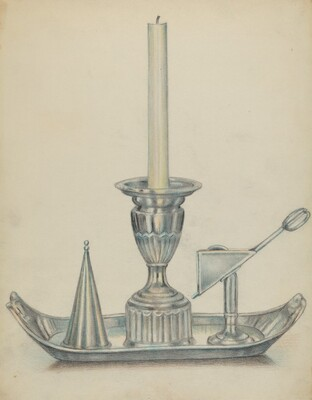 Silver Candlestick with Two Snuffers