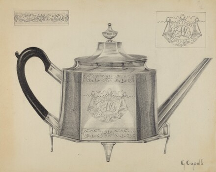 Silver Teapot with Tray