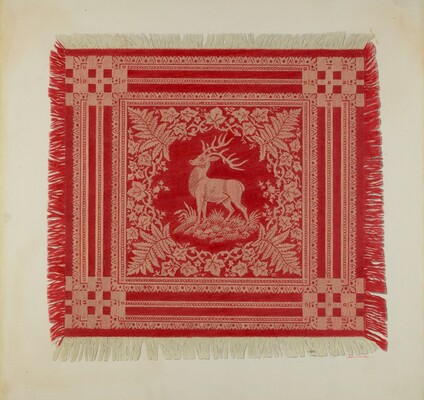 Red and White Napkin (Deer Design)