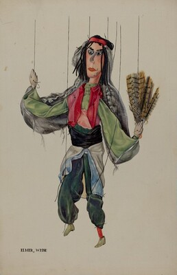 Fan Dancer Marionette