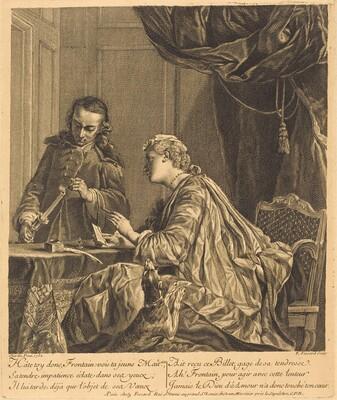 Dame cachetant une lettre (Lady Sealing a Letter)