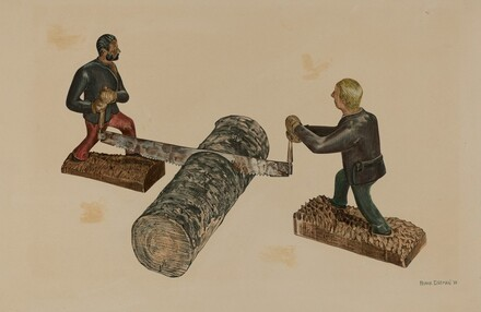 Lumberjacks Sawing a Log