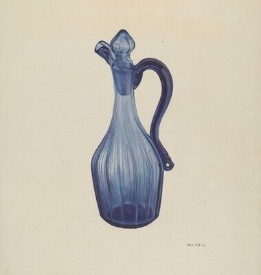 Blue Glass Cruet and Stopper