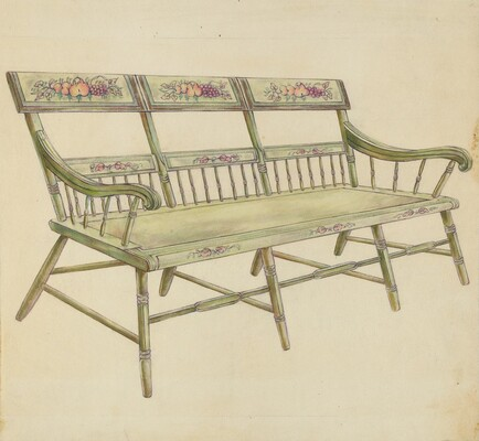 Sheraton Painted Three-Back Settee