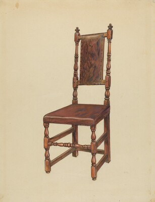 Cromwellian Leather Side Chair