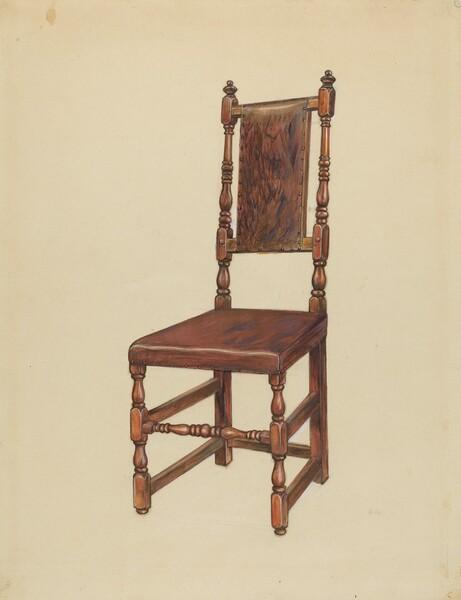 Cromwellian Leather Side Chair