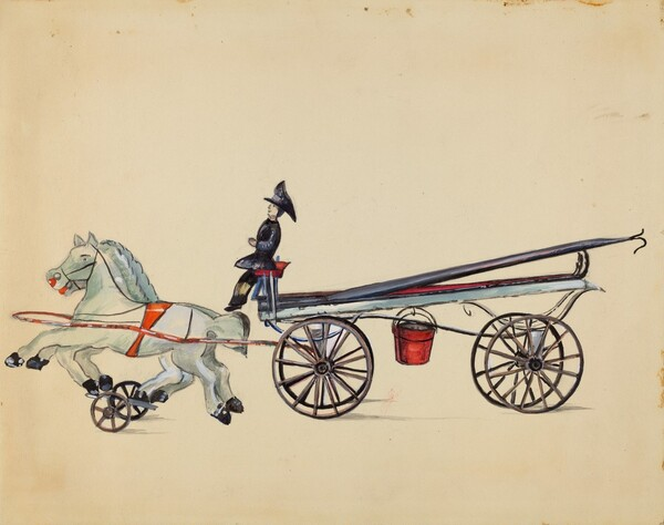 Toy Hook and Ladder, with Two Horses