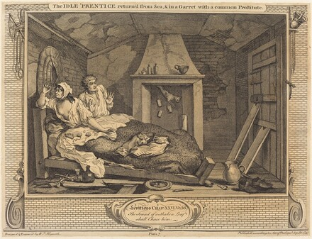 The Idle 'Prentice return'd from Sea & in a Garret with a common Prostitute