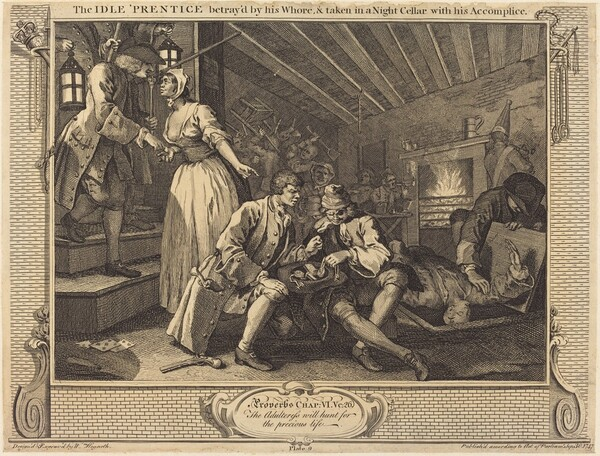 The Idle 'Prentice betray'd by his Whore, & taken in a Night Cellar with his Accomplice