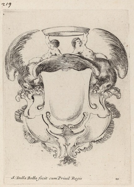Cartouche with Eagles and Two Infants  Holding a Crown