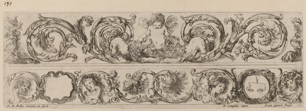 Two Ornamental Bands with Cupid and Heads of the Four Seasons