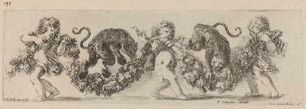 Two Leopards Jumping a Festoon Supported by Children