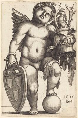 Female Genius Holding a Coat of Arms