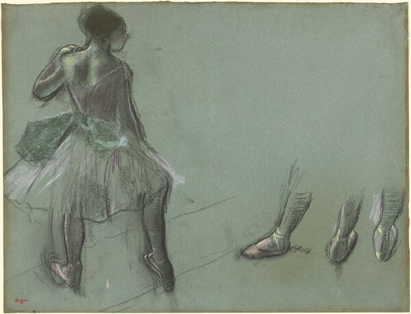 Dancer Seen from Behind and Three Studies of Feet