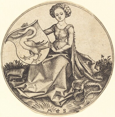 Shield with Swan, Held by Woman