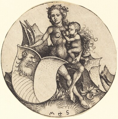 Shield with Lion's Head, Held by Wild Woman