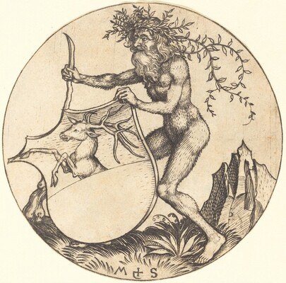 Shield with Stag, Held by Wild Man