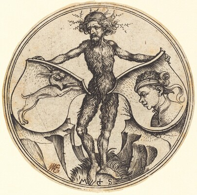 Shields with Rabbit and Moor's Head, Held by Wild Man