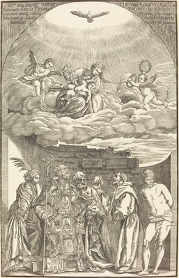 The Virgin in Clouds and Six Saints