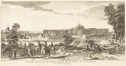 Vue du Chateau et d'une Partie de la Ville deVersailles