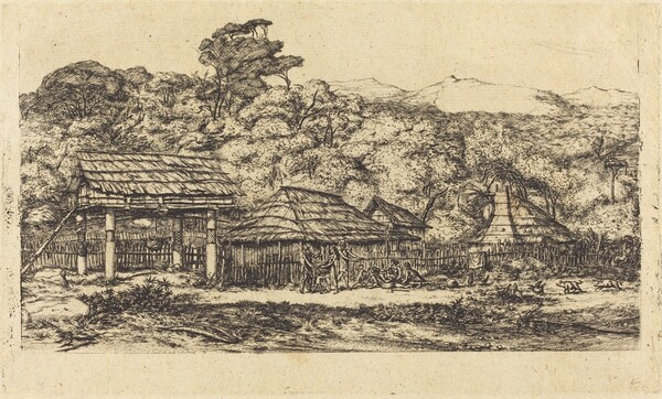 Greniers indigènes et habitations à Akaroa, presqu'Ile de Banks, 1845 (Native Barns and Huts at Akaroa, Banks' Peninsula, 1845)