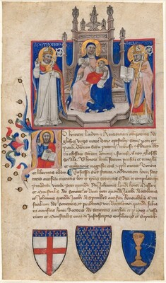 Madonna and Child Enthroned between Saints Petronius and Alle (Eligius); Christ in the Initial A