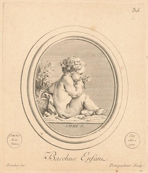 Jeanne Antoinette Poisson, marquise de Pompadour, François Boucher, Jacques Guay, François Boucher, Joseph-Marie Vien, M. Prault, James Watson, Bacchus enfant, published 1782published 1782