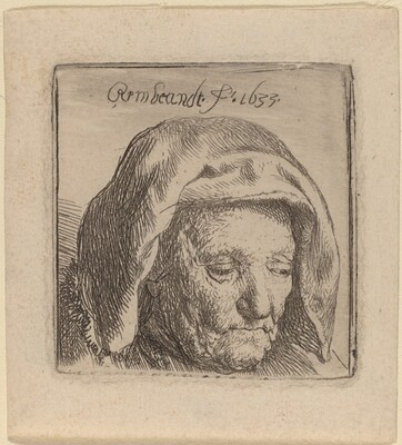 The Artist's Mother in a Cloth Headdress, Looking Down