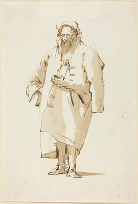 A Standing Oriental Wearing a Greatcoat