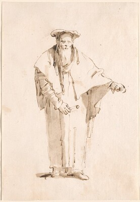A Standing Oriental Holding a Rod