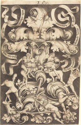 Ornament with Flower and Eight Wild Folk