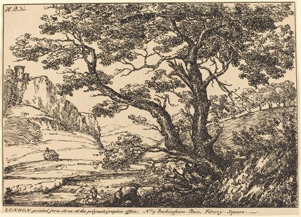 Landscape with Large Tree, Castle on Left