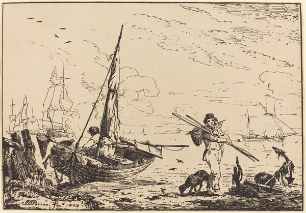 Marine: Fishing Boats on Shore, Man with Oars, Ship in Distance