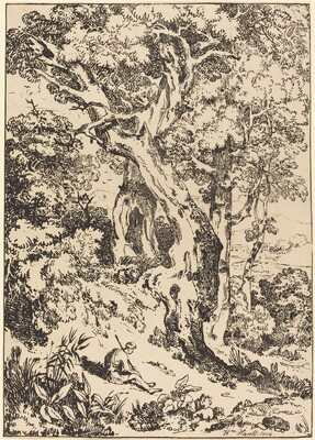 Study of Trees and Shrubs with Seated Figure