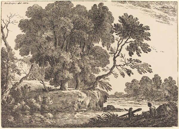 Landscape with Group of Trees Surrounded by Water