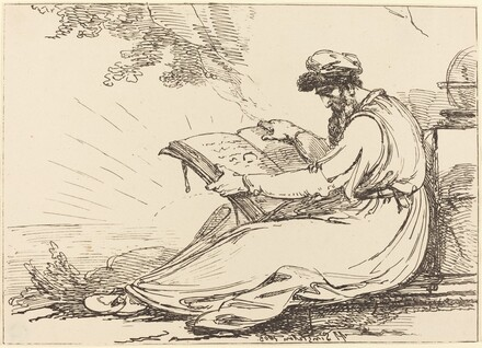 Oriental with Beard, Reading a Book