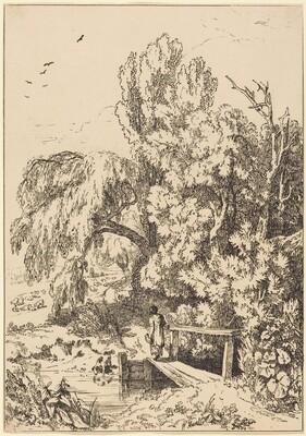 Landscape with Trees, Girl Crossing Footbridge