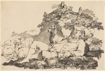 Shepherd with Dog and Sheep