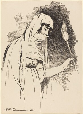 Oriental Woman, Holding a Torch